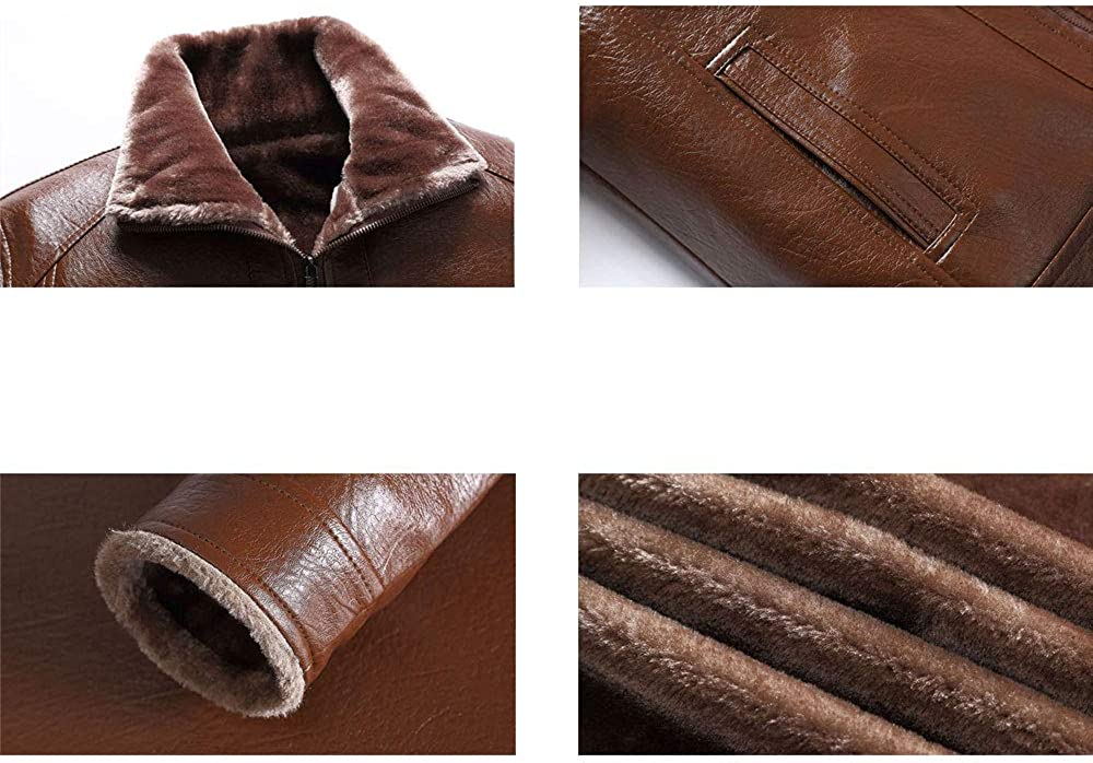 Mens Winter Warm Faux Leather Coat Classic Thick Fleece Lined PU Leather Jacket