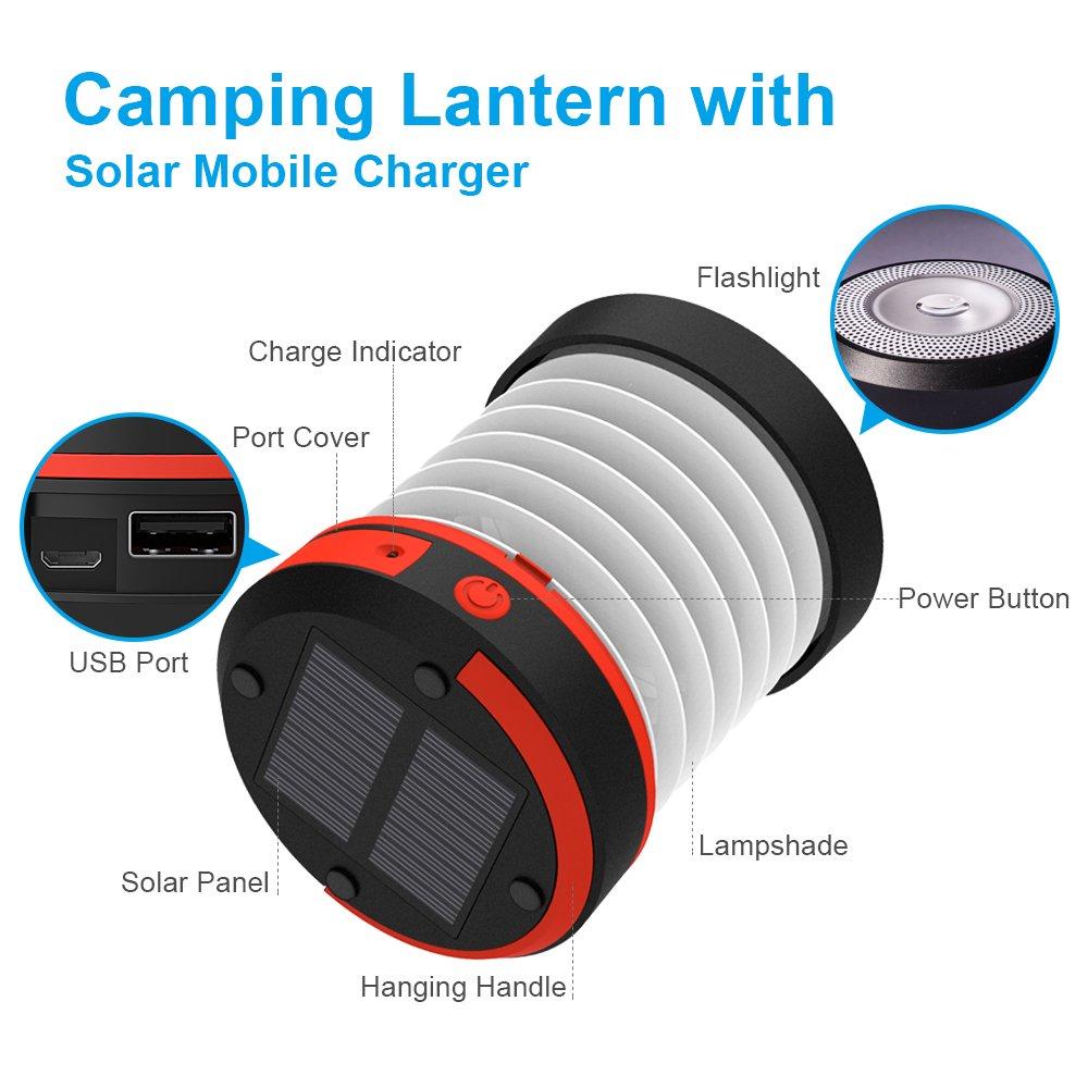 USB-Handy-Ladeger/ät wasserdicht und tragbar mit Griff Wiederaufladbare Solarlaterne LED-Laterne f/ür Garden Brilex Solarlaterne drau/ßen /…