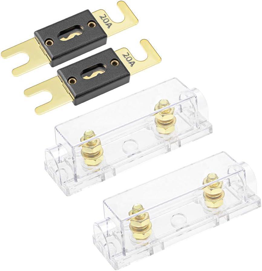 Sourcing Map 2stk Anl Sicherungshalter Mit 20a Sicherung Dc 32v Für Auto Audio Verstärker Wechselrichter Auto