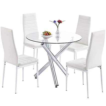 Trustiwood Modern 5 Piece Dining Table Set, Tempered Glass Top Table W/4 PU