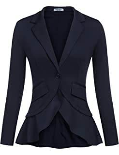 2538b36ac12 Elesol Women s Long Sleeve Notched Lapel Work Office Ladies Blazer Jacket  Suit