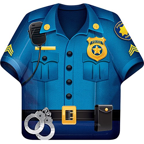 Police Party Paper Dinner Plates (8 ct) (Shirt Shaped Dinner Plates)