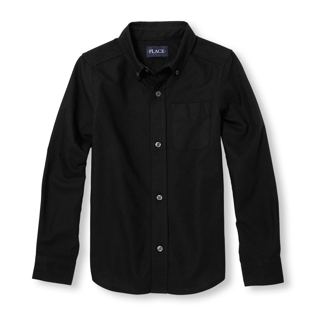 The Children's Place Big Boys' Long Sleeve Button-up Shirt, Black 02432, S (5/6)