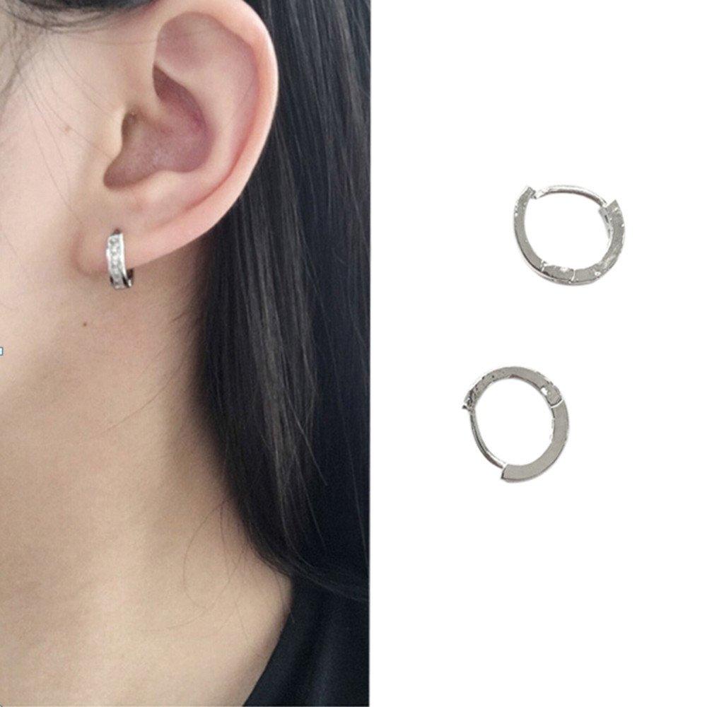 Ciyoon 1 Pair Elegant Ear Crystal Rhinestone Hoop Earrings Studs