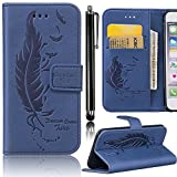 Samsung Galaxy S6 Edge Case, Bonice Embossed [Feather] Premium PU Leather Book Style Magnetic Snap Flip Stand Wallet Case + [Metal Stylus Pen] Anti Scratch Full Body Skin Protective Cover - Dark Blue