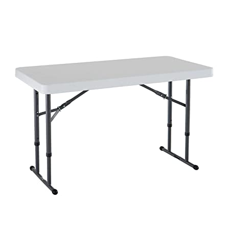 Lifetime 80160 Commercial Height Adjustable Folding Utility Table 4 Feet White Granite
