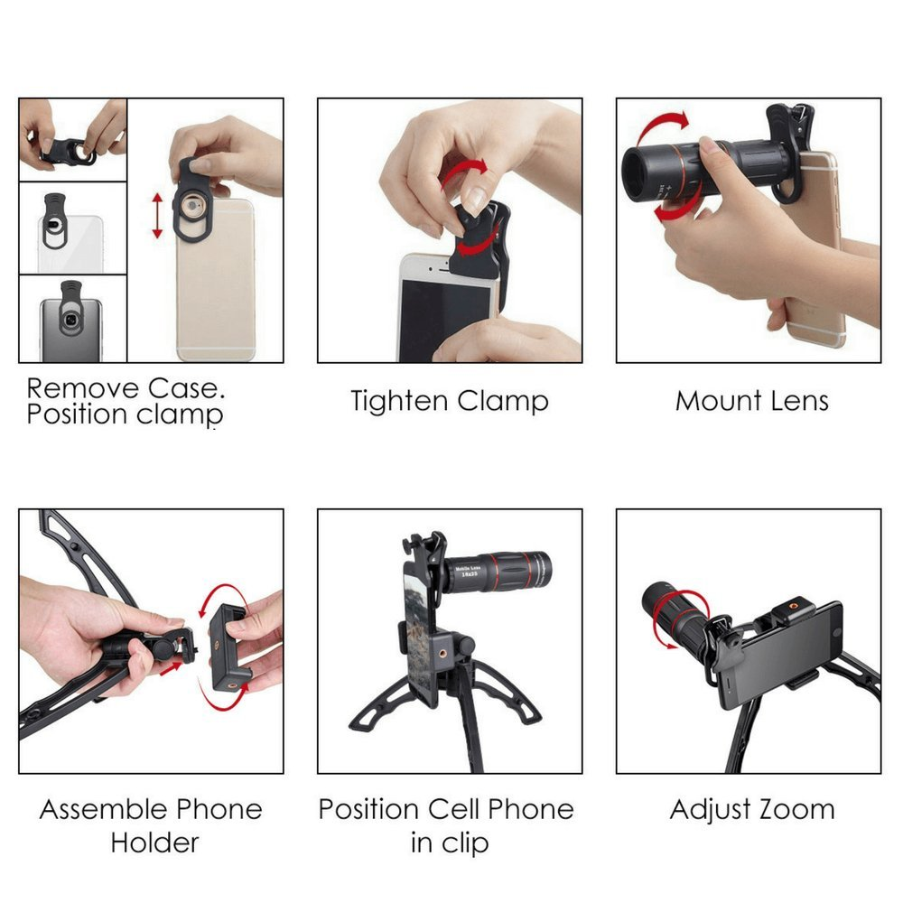 Phone Telephoto Lens Kit - 18x Zoom Cell Phone Lens Captures Clear Images - Monocular Telescope Camera with Upgraded Clamp & Tripod Stand - Perfect for Long Distance Shooting - Lightweight & Portable