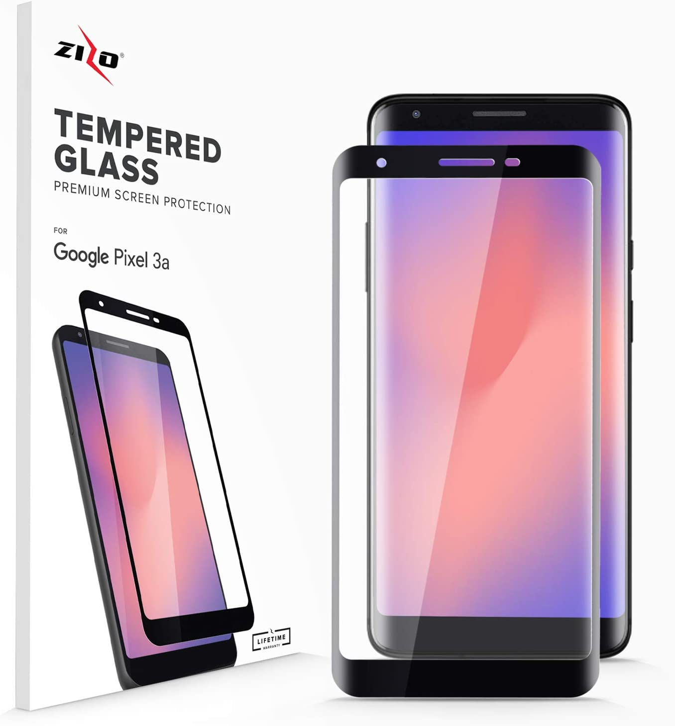 Zizo Full Glue Glass Compatible with Google Pixel 3a Screen Protector with Anti Scratch with 9H Hardness Black