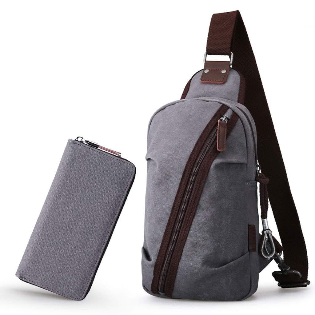 Bbxzm Koreanische Brusttasche - Männer Sporttaschen Umhängetasche Leinwand Umhängetasche (leichte Kaffee Farbe grau blau schwarz)