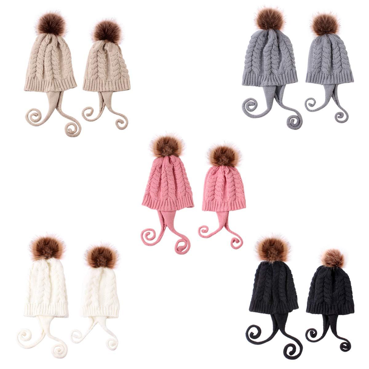 Haokaini Set di Cappelli per Mamma e Bambino Cappello Invernale Caldo Lavorato a Maglia Genitore-Figlio Kit di Cappelli per Cappellini con Pom Pom per Bambini