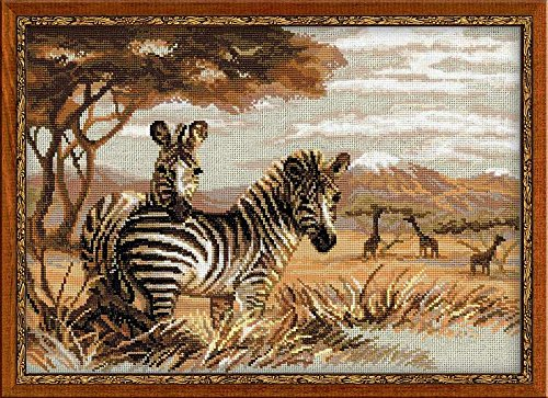 RIOLIS 14 Count Zebras in The Savannah Counted Cross Stitch