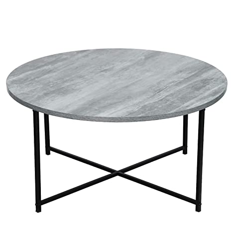 Enjoyable Adeco Ft0211 1 Round Wood Top And Sturdy Metal Frame X Base For Living Room 16 Inch Height Coffee Tables Fossil Gray Inzonedesignstudio Interior Chair Design Inzonedesignstudiocom