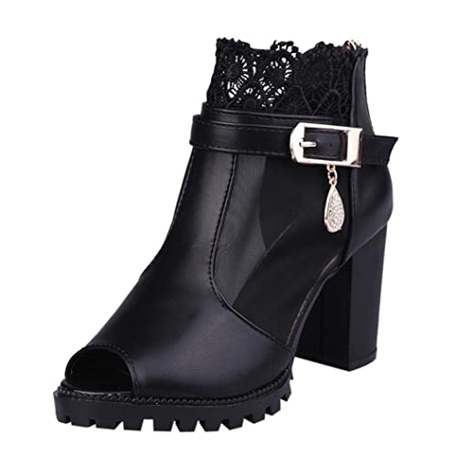 Women Metal Buckle Lace Zipper Fish Mouth Rough With High Heeled Shoes