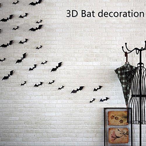 36 PCS Diy Bat Cutouts PVC 3D Halloween Party Supplies Wall Decal Wall Sticker Decorative -