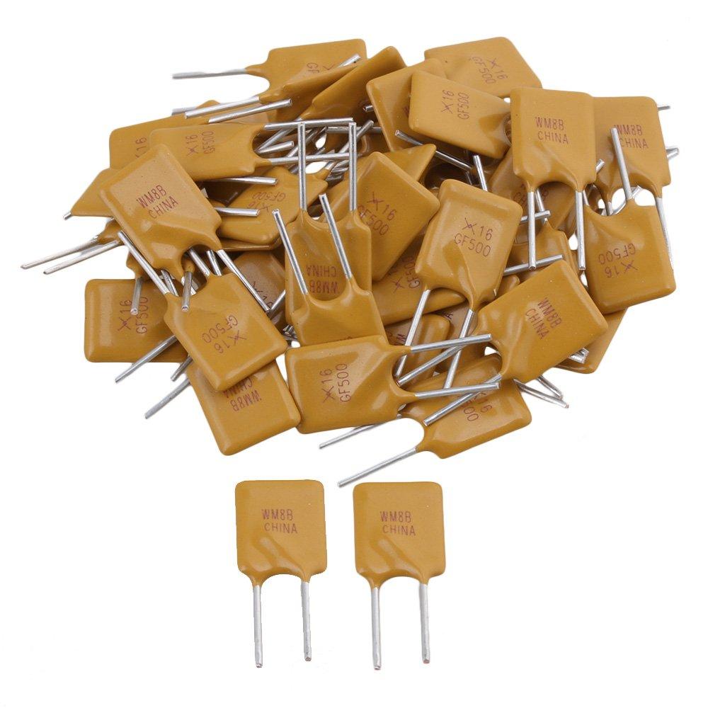 Yibuy - 50 interruptores de fusibles reajustables de 5000 mAh, 16 V, 5 A, Polimérico con Plomo PPTC: Amazon.es: Amazon.es