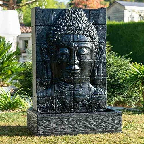 Wanda collection Fuente de jardín Pared de Agua Rostro de Buda 1, 50 m Negro: Amazon.es: Jardín
