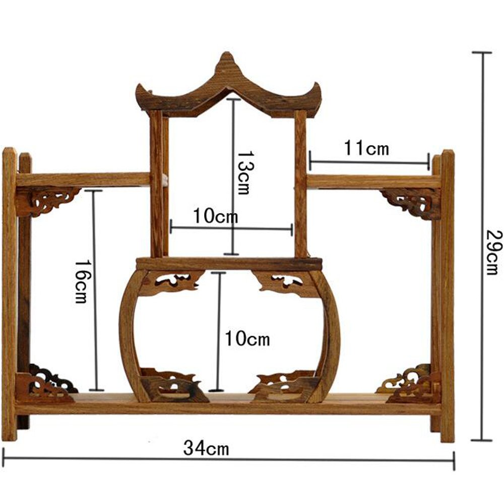 NWFashion Chinese Wooden Assemble Display Stand Symmetric Double Floor Curio Cabinets Shelf (4)