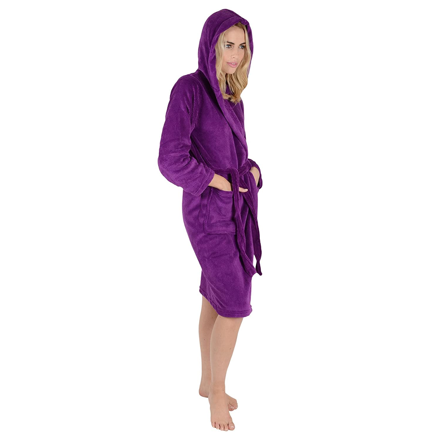 Ladies Coral Fleece Super Soft Thick Luxurious Bath Robe With Hood Dressing  Gown Wrap Housecoat Bathrobe ... 07c7cd2bd