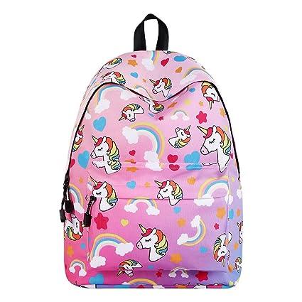 qualità superiore 7bf11 c97e5 WAWJ Store Unicorno Zaino 2019 Scuola Borse Leggero per Bambini Zaino  Casual per Ragazzi Adolescenti Ragazze (Rosa)