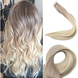 Full Shine 14 inch 50gram Balayage Tape In Hair Extensions Real Hair Color #18 Ash Blonde Fading To #60 Platinum Blonde Remy Hair Ombre Skin Weft Tape Hair Extensions