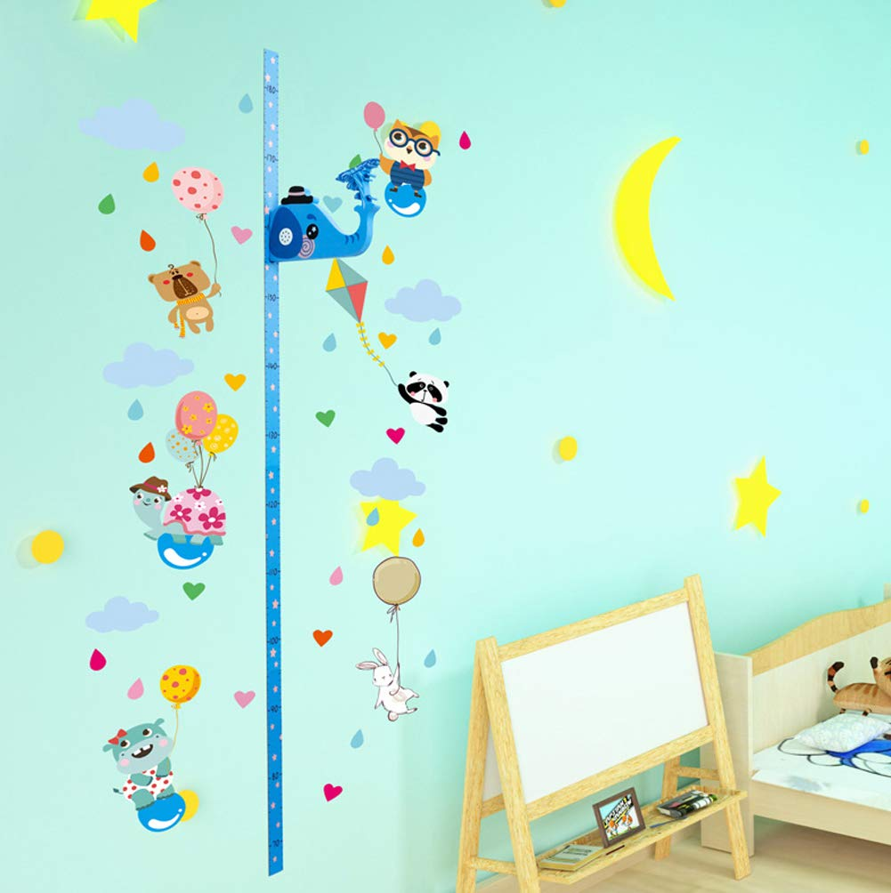 KUNAW Baby Height Growth Chart Ruler for Kids,Removable 3D Giraffe Cartoon Ruler Wall Sticker Childrens Bedroom Decoration Magnetic Measurement Height Support Music Playback Elephant