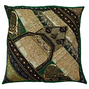 """Patchwork Home Décor Cushion Cover Green Traditional Pillow Case Handmade Square Throw Gift Art 17"""" Inches"""
