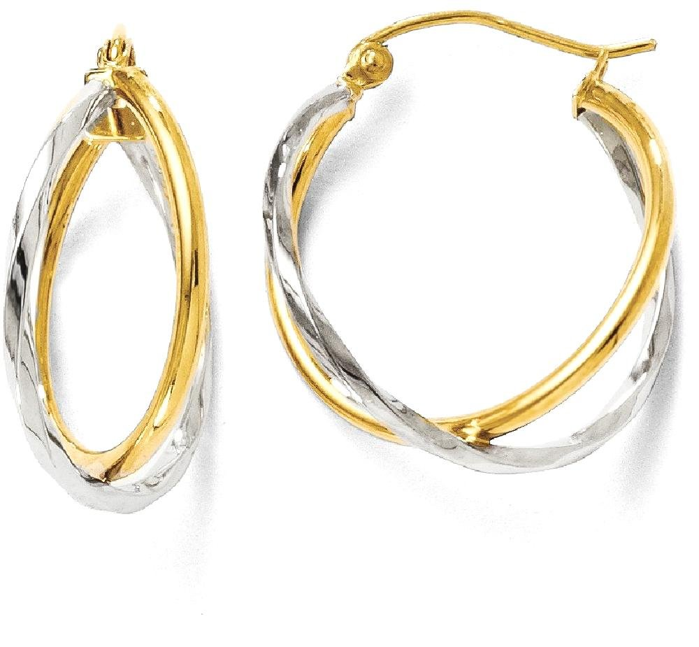 ICE CARATS 14k Two Tone Yellow Gold Hinged Hoop Earrings Ear Hoops Set Fine Jewelry Gift Set For Women Heart