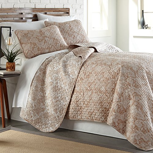 Southshore Fine Linens - Perfect Paisley Collection - Lightweight, Reversable 2-Piece Quilt Set, Taupe, Twin/Twin XL