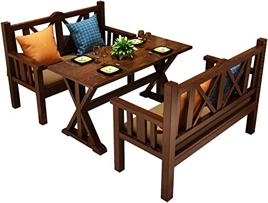 XLOO Juego de Mesa y sillas de Comedor de Cocina de Madera de 3 ...
