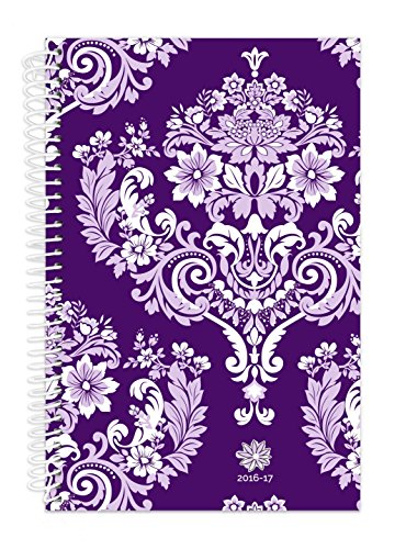 "bloom daily planners 2016-17 Academic Year Daily Planner (+) Passion/Goal Organizer (+) Fashion Agenda (+) Weekly Diary (+) Monthly Datebook Calendar (+) August 2016 - July 2017 (+) 6"" x 8.25"" - Purple Damask"