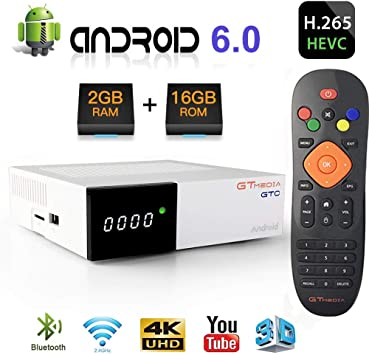 GT Media GTC Android 6.0 TV Box +DVB-S2/T2/Cable TDT Decodificador , Amlogic S905D 2GBRAM +16GBROM 4K/H.265/MPEG-4 2.4G WiFi Soporte DLNA Netflix 3D Smart TV Box Compatible con Cccam, Youtube, IPTV: Amazon.es: Electrónica