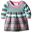 Bonnie Baby Baby-Girls Floral Border and Stripe Sweater Dress, Aqua, 3-6 Months