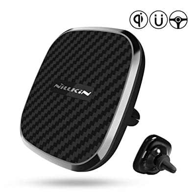 Nillkin Wireless Car Charger Mount,7.5W /10W Fast Charging Qi Magnetic Car Phone Holder Air Vent[ 360 Rotation ]Compatible for iPhone Xs/Xs Max/XR/X/ 8/8 Plus, Samsung Galaxy S10 /S10+/S9 /S9+/S8 /S8+