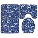 Ocean Sea Wave Accessories Bathroom Rugs Set NonSlip Bath Mat Set Washable Lid Toilet Cover And Bath Mat