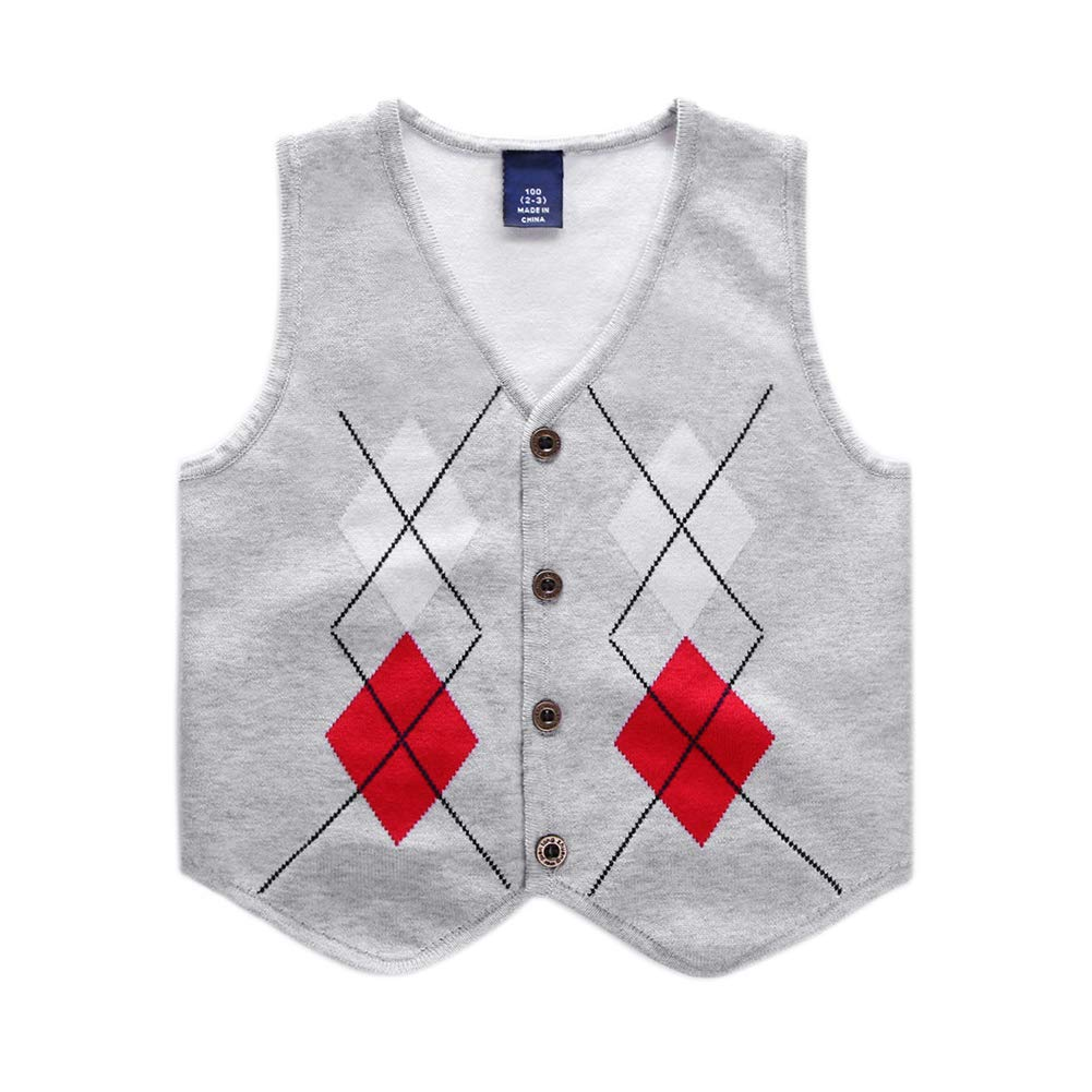 Motteecity Boys Warm Vest School Style Square Embroidered Sleeveless All Matches Pullovers