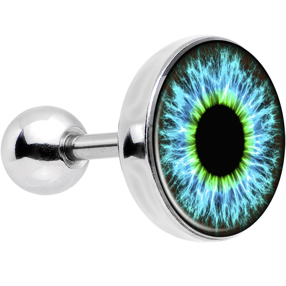 Body Candy Stainless Steel Human Eye Blue Explosion Tragus Cartilage Earring 16 Gauge 1/4 CUT-372