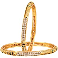 Sitashi 18 K Gold Plated Alloy Fashion Jewellery Bangles Set Combo of 3 for Girls & Women