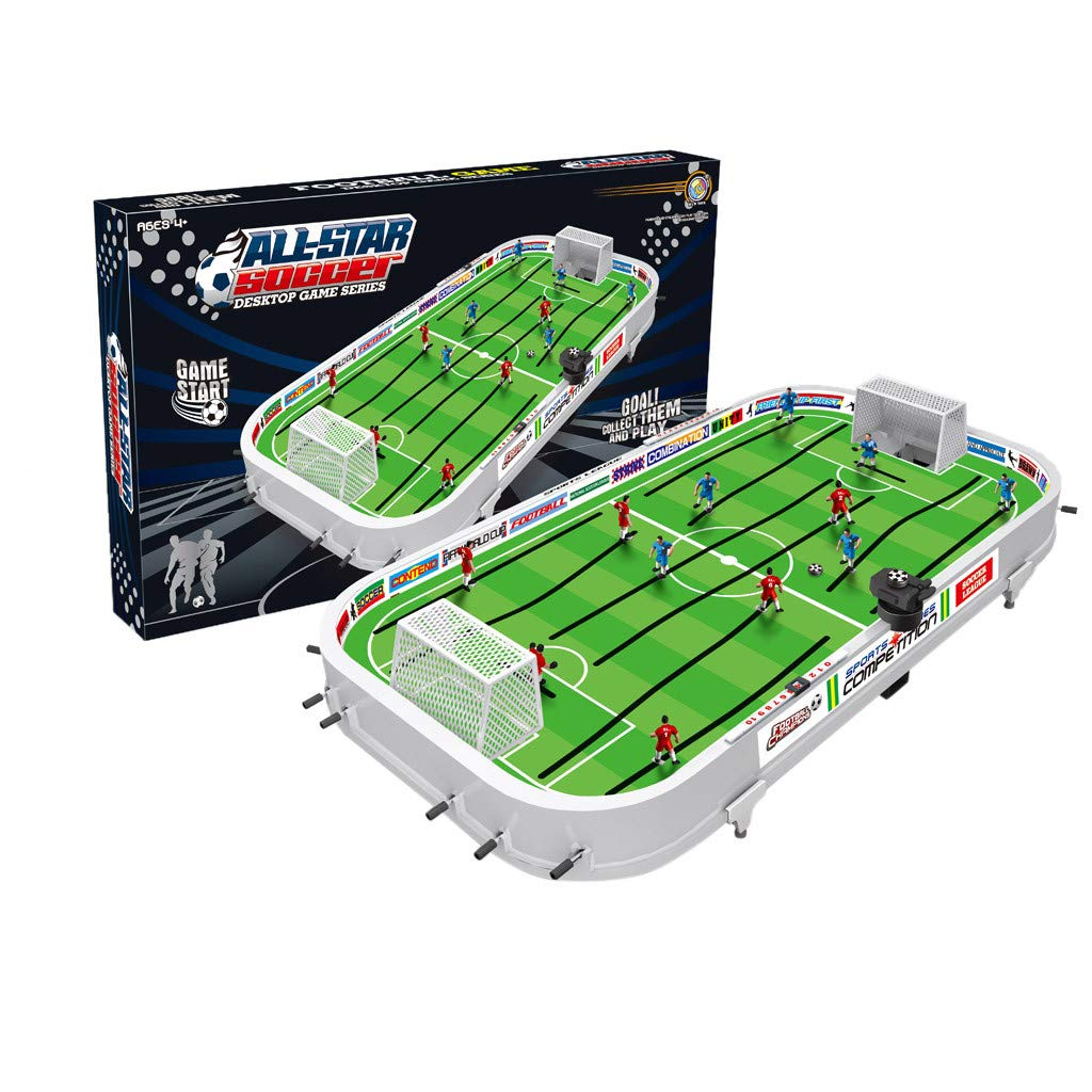 Basde Table Top Foosball Table for Adults and Kids - Compact Mini Tabletop Soccer Game - Portable Recreational Hand Soccer for Game Room & Family Game Night - 38.4 x 21.4 x 6.4 inches by Basde