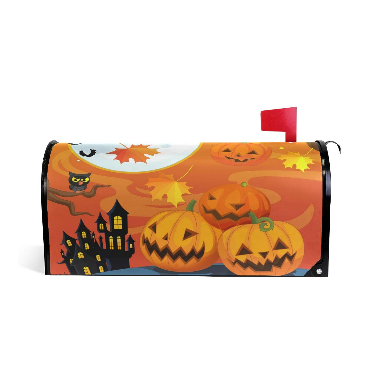"""Naanle Halloween Magnetic Mailbox Cover, Cute Owl and Halloween Pumpkin Autumn Leaves Mailbox Wrap Home Decorative for Large Size 25.5""""(L) x 20.8""""(W)"""