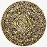 Kitchen Rugs Gold Safavieh Adirondack Collection ADR108H Gold and Black Oriental Vintage Round Area Rug (4' Diameter)