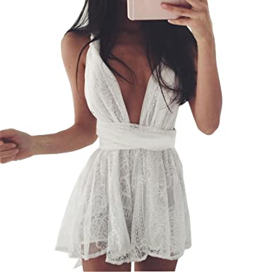 b175e3ad5be Women Deep V-Neck Dress Lace Bandage Criss Cross Back Halter Sexy ...