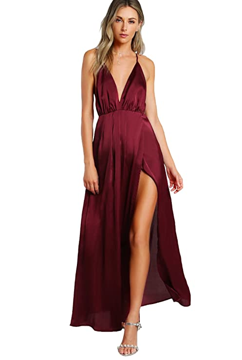 She In Women's Sexy Satin Deep V Neck Backless Maxi Party Evening Dress by She In