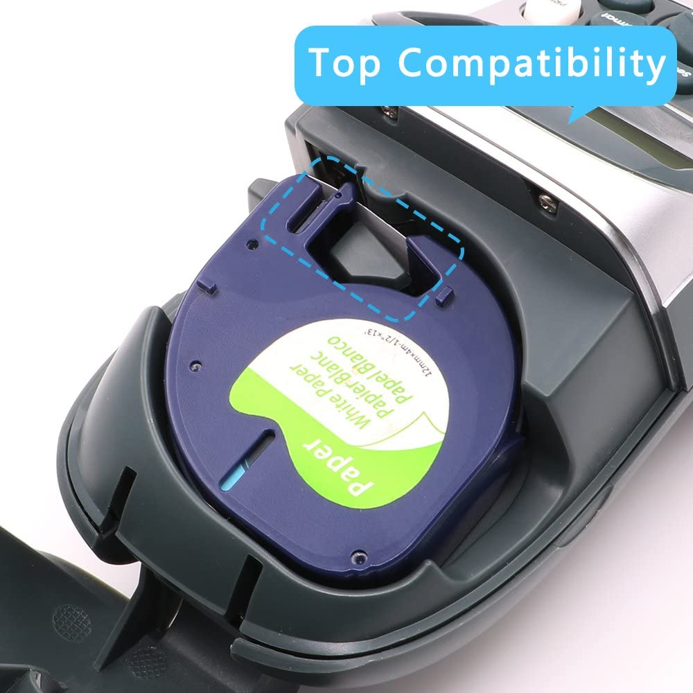 Schwarzer auf Transparent,6er-Pack Invoker kompatible Schriftband als Ersatz f/ür Dymo LetraTag 12267 Kunststoff Etikettenband 12mm x 4m,f/ür Dymo LetraTag LT-100H LT-100T LT-110T QX 50 XR XM 2000 plus