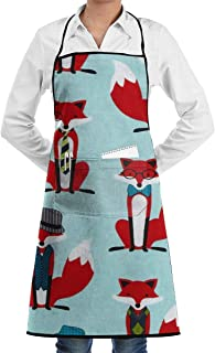 VAICR Apron Bib Houndstooth Foxes Chef Apron with Bib Apron Kitchen Apron Adjustable Extra Long Ties For Women&Men BBQ Baking and Cooking-Black,Easy To Clean