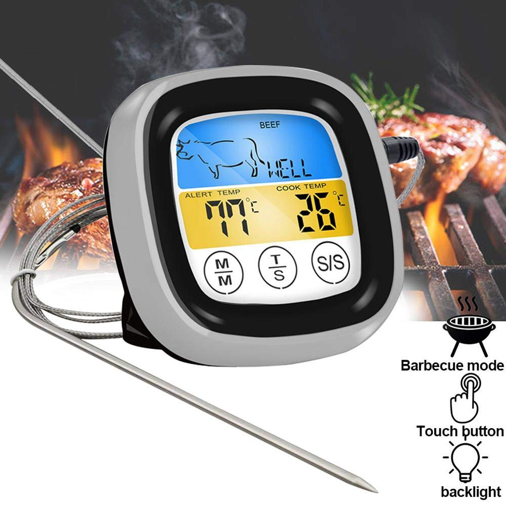 TEEPAO Instant Read Meat Thermometer, Newest Digital Thermometer With Probe And Alarm Timer, Multifunctional Oven Steak Candy Thermometer For Kitchen Deep Fry, Brewing, Outdoor Grill Cooking BBQ