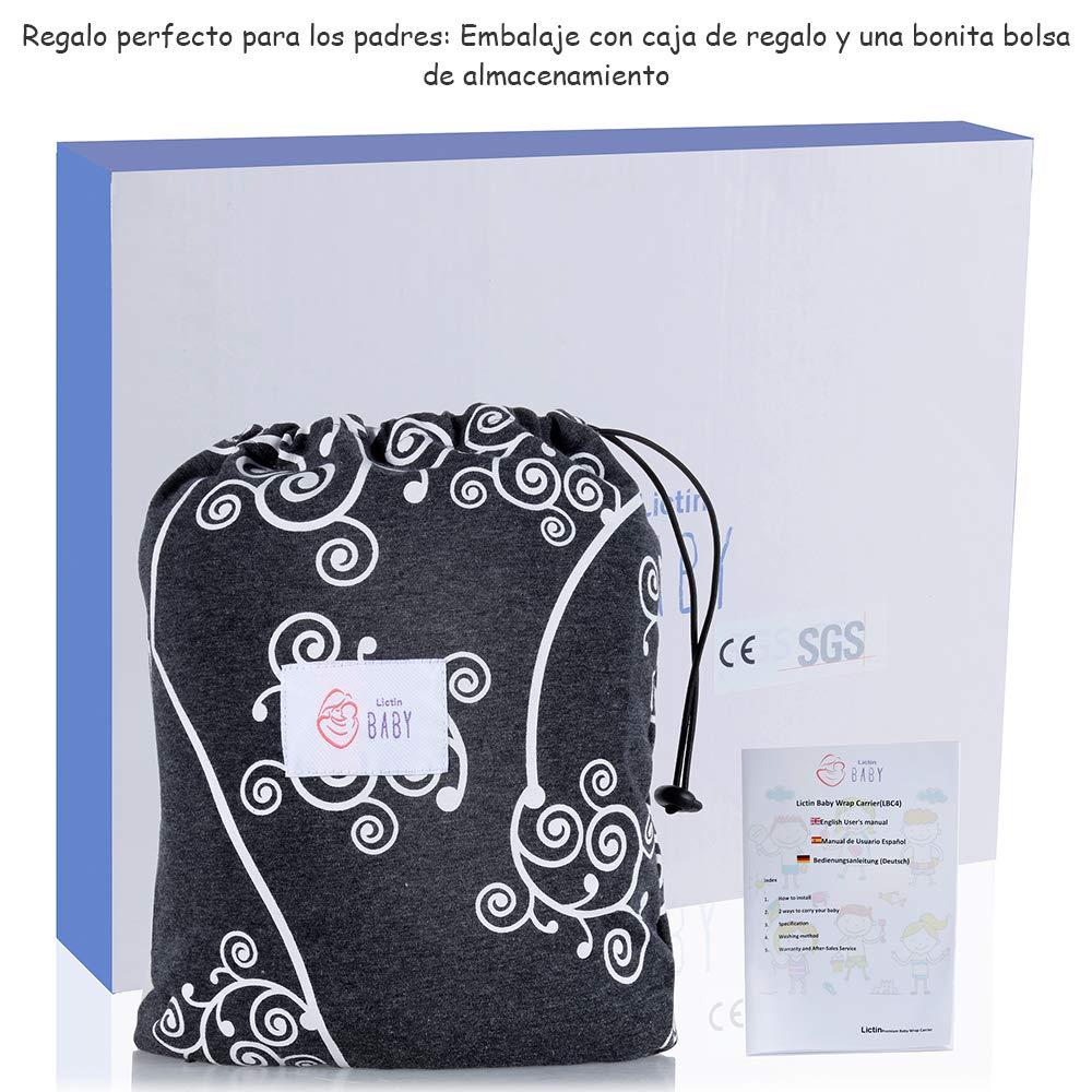 Lictin Fular portabeb/és Portabebes recien nacido Caja de regalo Portabeb/és elastico Hasta 35 lb 16 kg Certificaci/ón de seguridad CE con bolsa de almacenamiento y colorido manual de usuario