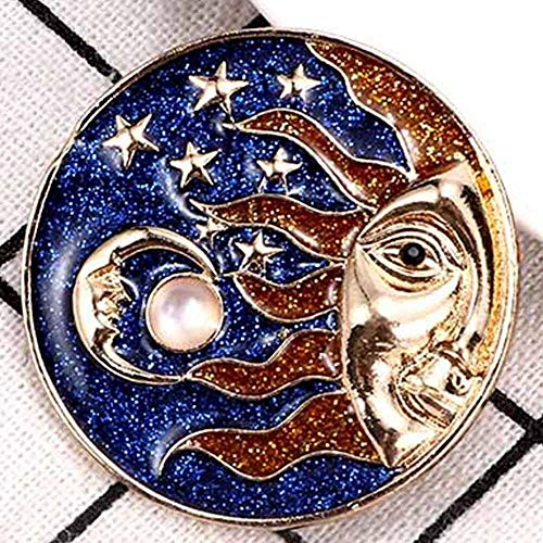 (Sun and Moon God Hijab Pins Women Jewelry Brooches Badge Pin Enamel Brooch (Size - A))