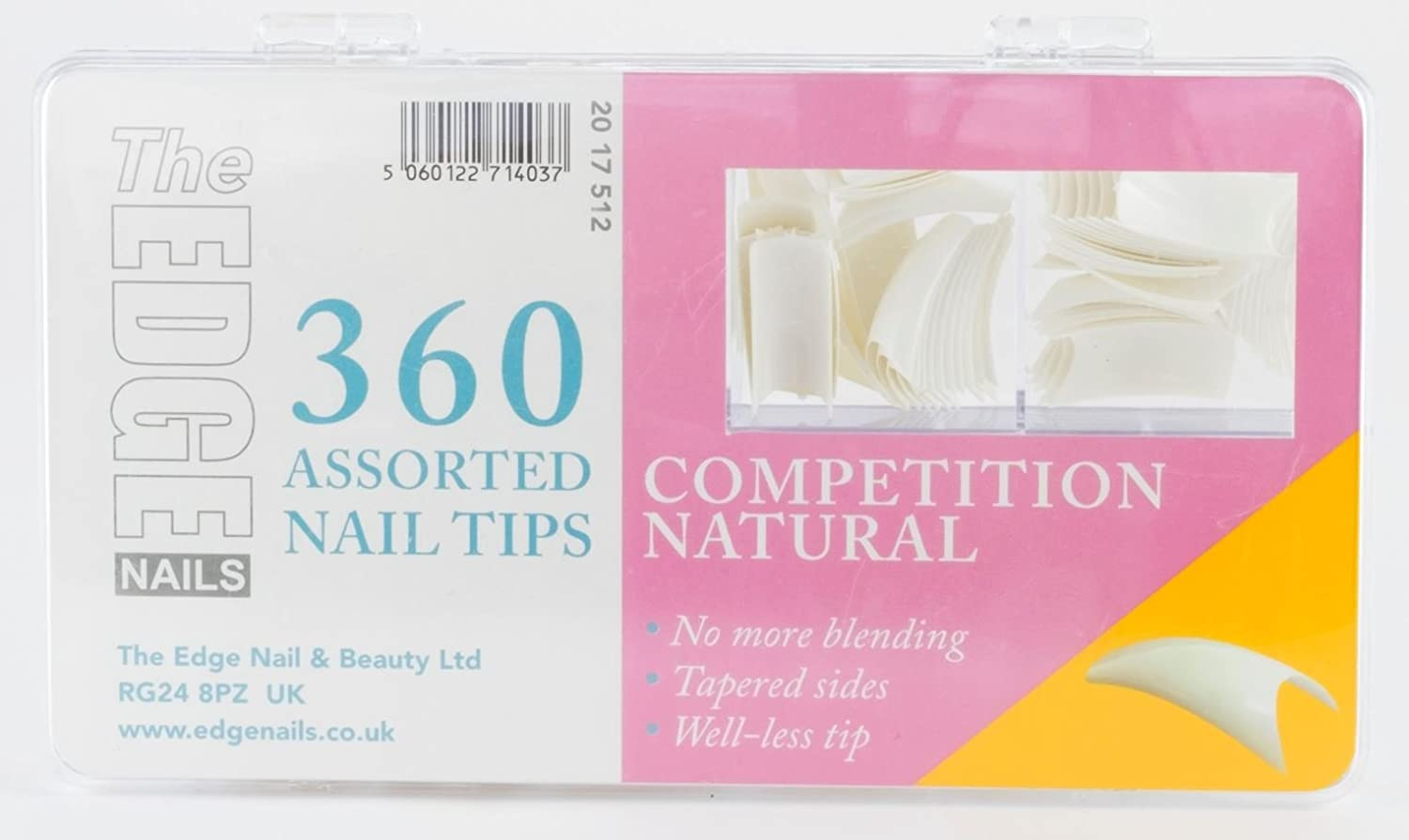 Amazon.com : The Edge Natural Competition Nail Tip - Pack of 360 ...
