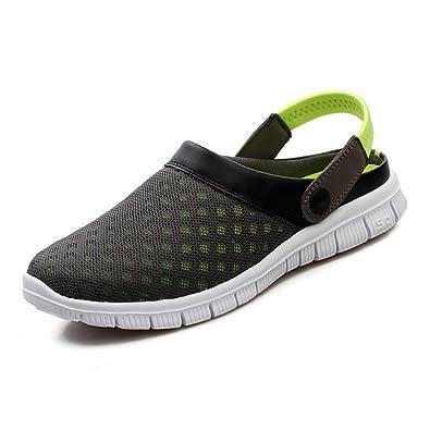 Herren Damen Clogs Hausschuhe Mesh Garten Atmungsaktiv Pantoletten Antirutsch Sandalen Slippers Strand Schuhe.