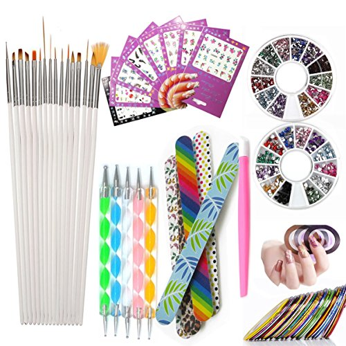 Nail Art Tools Manicure Kit 15PCS Nail Painting Brush 5PCS N